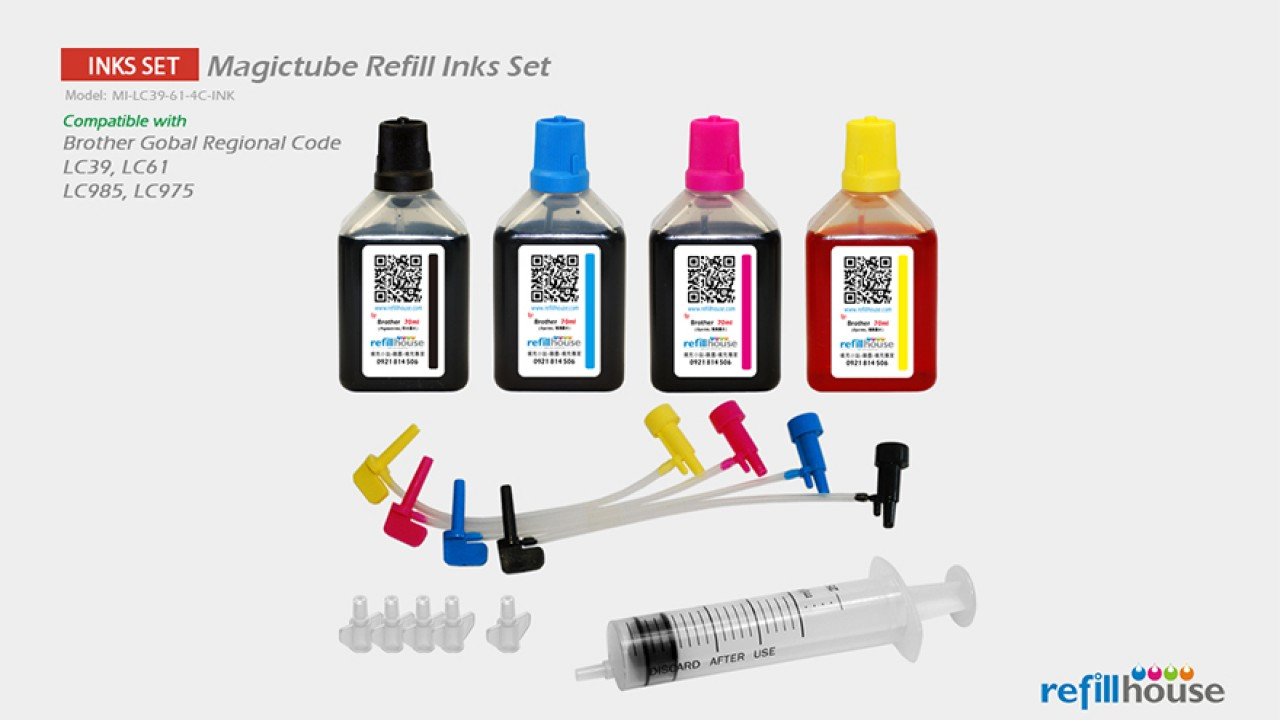 Brother LC39, LC61 Magictube Refill Inks Set