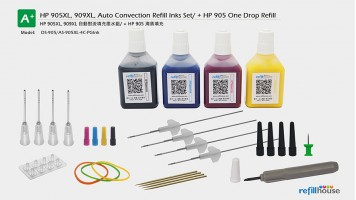 HP 905XL, 909XL, Auto Convection Refill Inks Set/P + HP 905 One Drop Refill