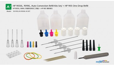HP 905XL, 909XL, Auto Convection Refill Kits Set/ + HP 905 One Drop Refill